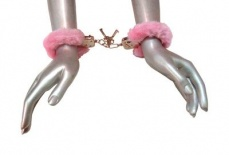 Frisky - Fur Lined Handcuffs - Pink photo