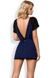 Obsessive - 825-PEI-6 Peignoir & Thong - Navy Blue - L/XL photo