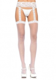 Leg Avenue - Sheer Thi-Hi with Lace Garter Belt - White photo